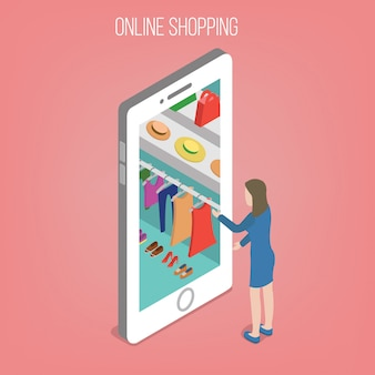 Online-shopping-konzept im isometrischen stil. frau mit intelligentem telefon
