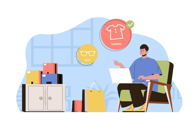 Online-shopping-konzept kunde tätigt einkäufe mit laptop