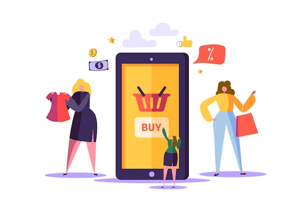 Online-shopping-konzept mit charakteren