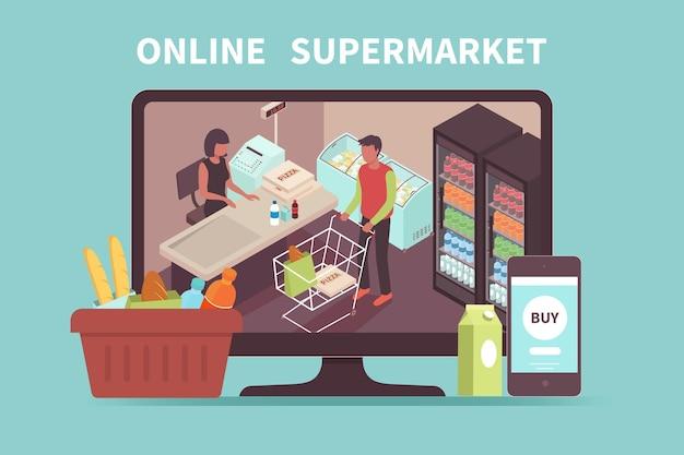 Online-shopping-konzept mit käufer, der für einkäufe im supermarkt auf dem pc-bildschirm bezahlt