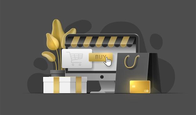 Online-shopping-konzept mit monoblock, einkaufstasche, pflanze, goldkarte, geschenkbox, kauf-button.