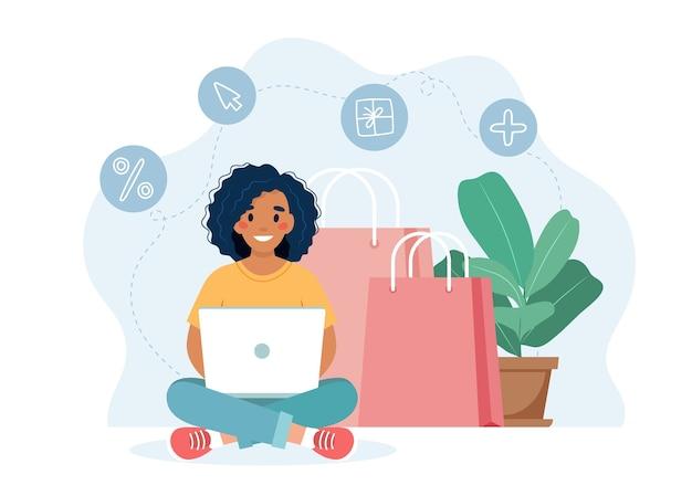 Online-shopping-konzept mit schwarzem frauencharakter