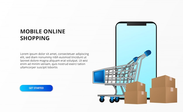 Online-shopping-konzept mit smartphone mit trolley cart und kartonpaket.