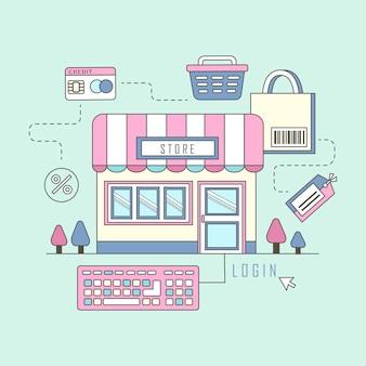 Online-shopping-konzept mit stil