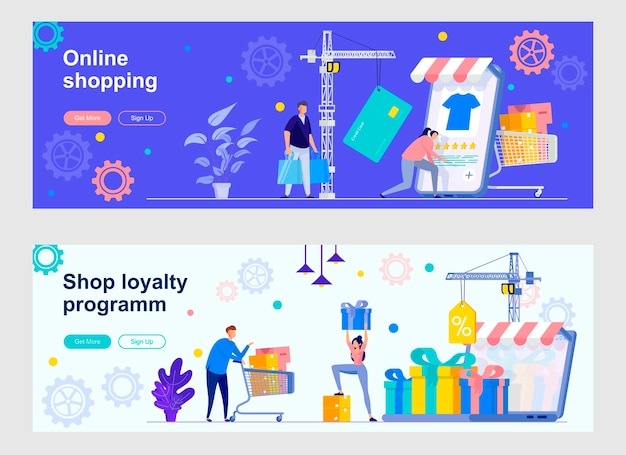 Online-shopping-landingpage-set