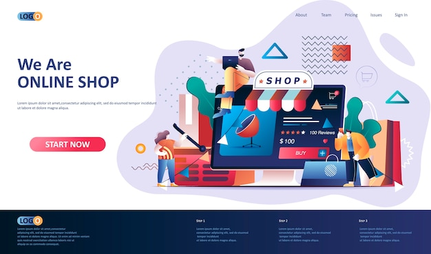 Online-shopping landingpage vorlage illustration