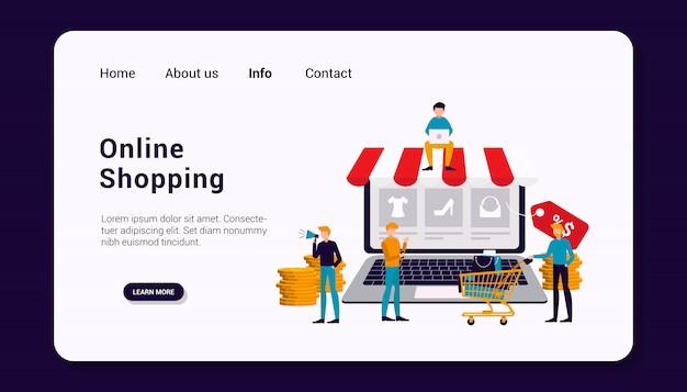 Online-shopping-landingpage-vorlage mit business human group-konzept, flaches design.