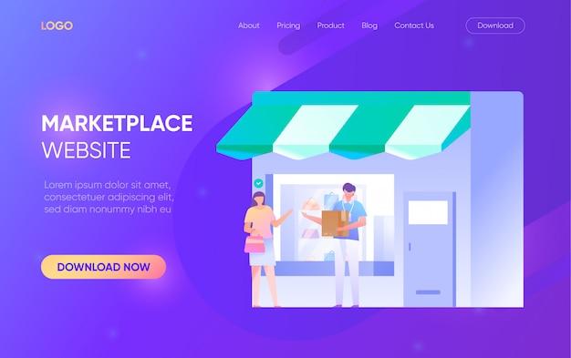 Online shopping marktplatz menschen mann frau charakter landing page website