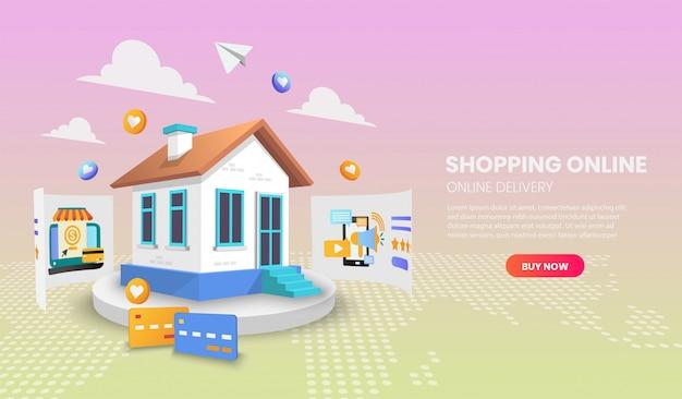 Online-shopping mit hauskonzept. online-lieferservice.3d vektor-illustration, heldenbild für website