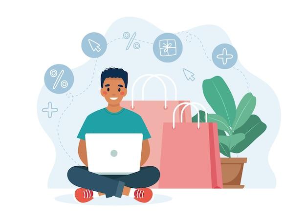 Online-shopping mit manncharakter mit computer und großem bildschirm, verkaufskonzept.