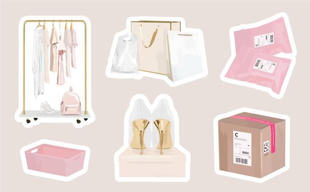 Online-shopping-mode-aufkleber mit einkaufstüten und paketen