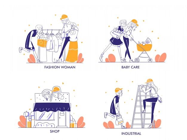Online-shopping oder e-commerce-konzept im modernen handgezeichneten designstil. modefrau, babypflegeprodukt, zimmermann, holzbearbeitungslebensstil, geschäft, geschäft, kategorieillustration