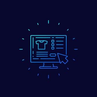 Online-shopping, online kaufen, lineares symbol