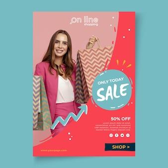 Online-shopping-poster-vorlage Premium Vektoren