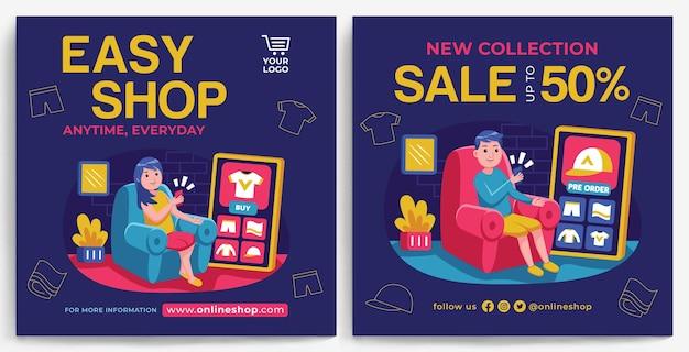 Online-shopping-promotion-feed-instagram-vorlage im modernen design-stil