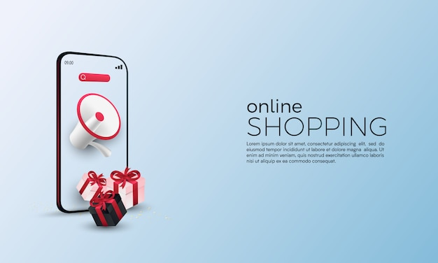Online-shopping-promotion mit megaphon auf mobilem konzept