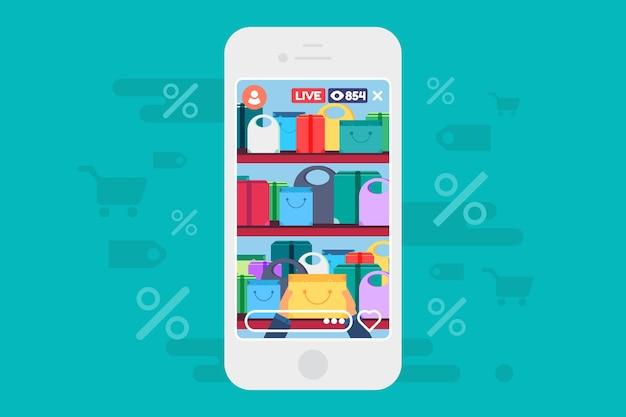 Online-shopping-rabatte live-stream-konzept illustration. streaming über vorteilhafte angebote. handy-bildschirm. vektor isolierte farbzeichnung