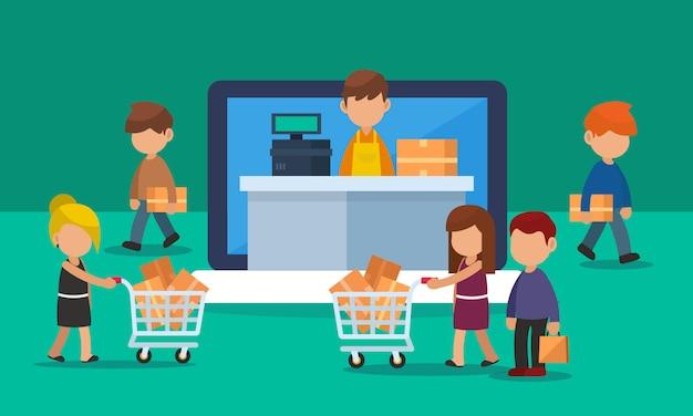 Online-shopping-schaufenster auf laptop oder computer mit kundenverkehr. illustration