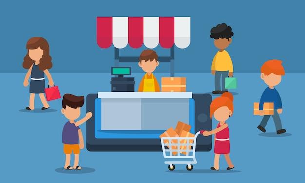 Online-shopping-schaufenster auf mobilgeräten mit kundenverkehr. illustration