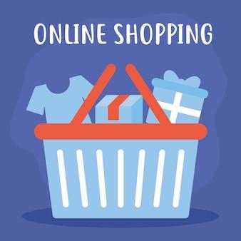 Online-shopping-schriftzug mit einem bündel von online-shopping-symbolen
