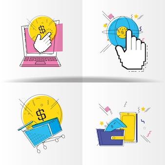 Online-shopping-set symbole