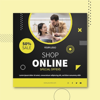 Online-shopping-square-flyer-stil