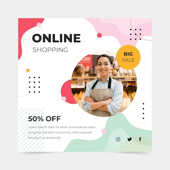Online-shopping square flyer vorlage
