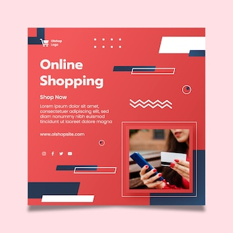 Online-shopping-square-flyer-vorlage