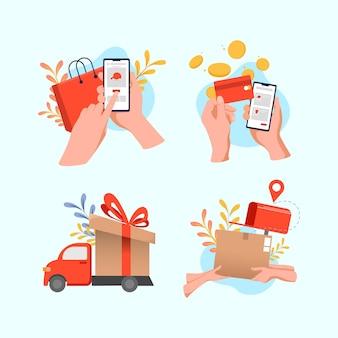 Online-shopping-szene im flat-design