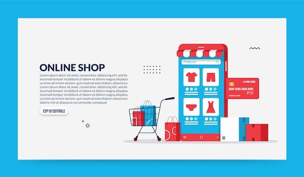 Online-shopping über mobile anwendungen, smart store und e-commerce-konzept