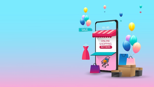 Online-shopping über mobile application concept marketing und digital