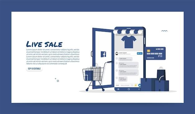 Online-shopping über social media-anwendung, mobile store und e-commerce-konzept