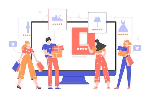 Online-shopping und e-commerce. überwachen sie mit einem online-shop, produktkarten mit warenrankings, ein mädchen macht einen kauf. käufer mit taschen und geschenkboxen.