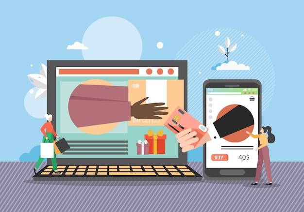 Online-shopping- und lieferkonzept