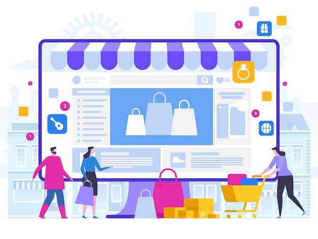 Online-shopping und lieferung von einkäufen e-commerce-verkäufe