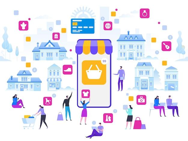 Online-shopping und lieferung von einkäufen. e-commerce-vertrieb, digitales marketing.
