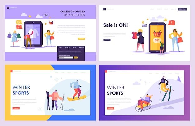 Online-shopping-verkauf commerce landing page set.