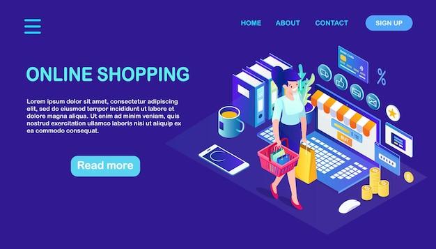 Online-shopping, verkauf. kaufen sie im einzelhandel über das internet. isometrische frau mit korb, computer, geld