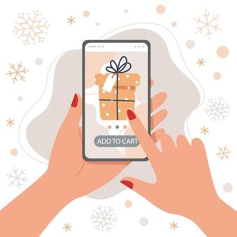 Online-shopping von weihnachtsgeschenken mit smartphone