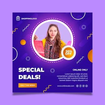 Online-shopping-vorlage für quadratische flyer