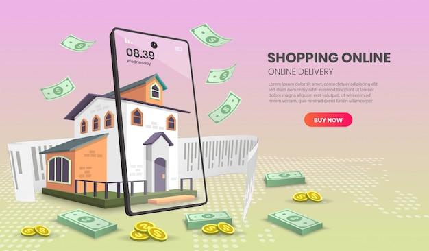 Online-shopping-vorlagen-service für den online-shopping-lieferservice für lebensmittel und pakete. 3d-illustration.