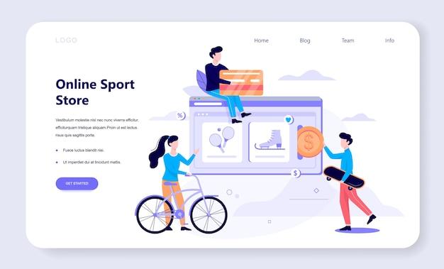 Online-shopping-web-banner-konzept. e-commerce, kunde beim verkauf. app auf dem handy. sportgeschäft. illustration mit stil