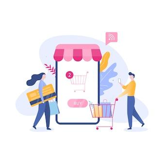 Online-shopping-web-banner-konzept. e-commerce und verkauf