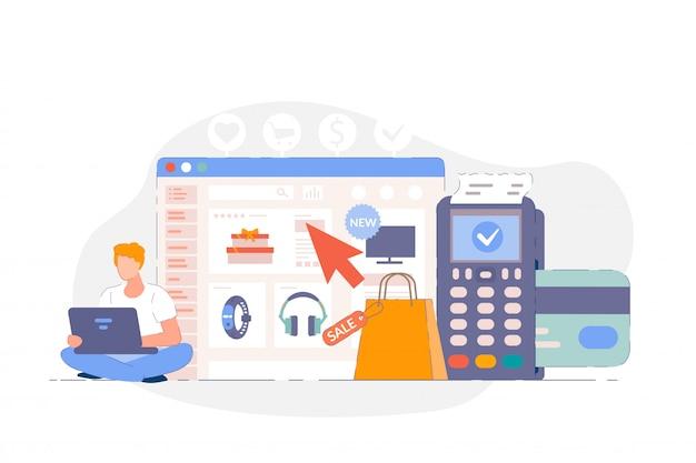 Online-shopping-website. mann wählt, kauft waren auf der website-oberfläche, macht zahlung mit kreditkarte und pos-terminal. kunden kaufen und online auf der internet-website bezahlen