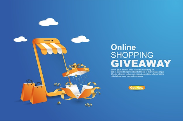 Online-shopping-werbegeschenk auf mobile banner-vorlage