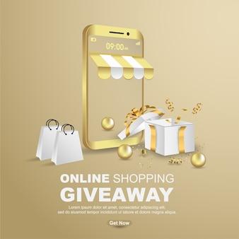 Online-shopping-werbegeschenk mit realistischer geschenkbox-banner-vorlage