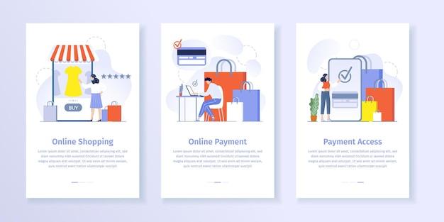 Online-shopping-zahlung. frau, die kleid in smartphone-anwendung wählt. mann macht einkäufe mit laptop