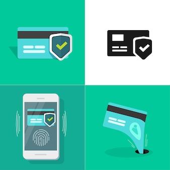 Online-sicherheitsset für digitales geld über den schutz der kreditkartenzahlung