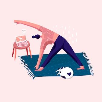 Online-sitzung im internet, die rutschende katze yoga erzieht gesundheitsaktivität vektor-illustration