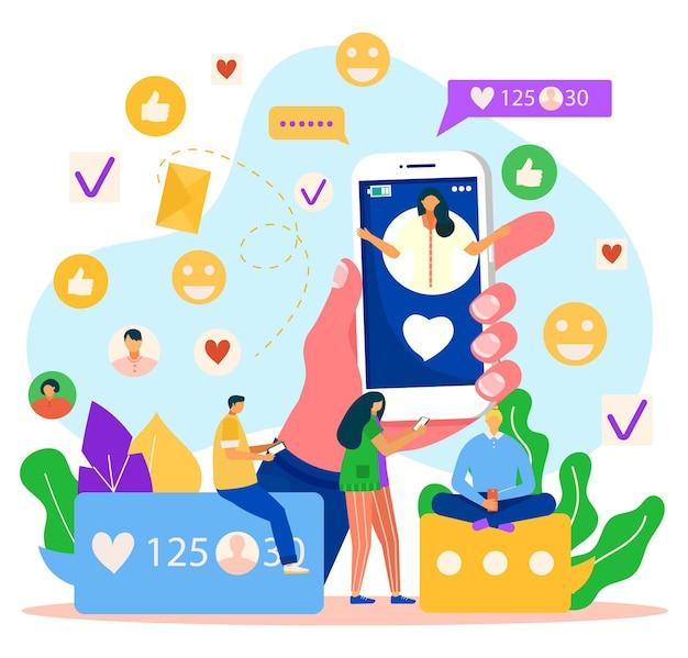 Online-social-media-marketing, vektorillustration. geschäft im internet, mann-frau-leute-charakter wie personennetzwerk-blog. riesige hand halten smartphone mit flachem pfosten, reaktionssymbol.